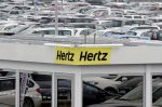 FILE PHOTO: A logo of the American car rental company Hertz is seen at Bordeaux Airport in Merignac, Southwestern France, February 4, 2016. REUTERS/Regis Duvignau/File Photo